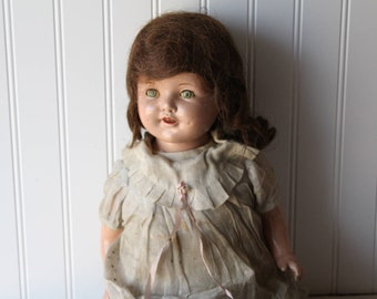"""All Original Composition & Cloth Doll, 24"""" Tall, Unmarked Antique Mama Doll, Dimples, Open Mouth, Tongue, Teeth"""