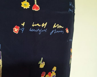 Vintage Retro Wrap Floral High Waisted Tulip Short Skirt//Abstract Print