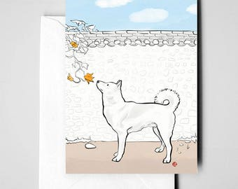 Jindo Gae Korea Card BULK Discount,International Doggy Sumi-e Painting Illustration Asian Korean Kiwa Zen Art Cute Ink Drawing Dog Lover