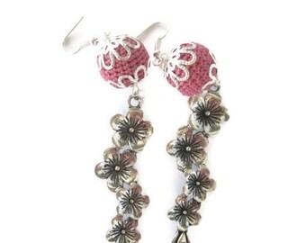 Crochet Bead Earrings, Silver Flower Earrings, Orchid Bead, Dangle Flower, Silver Plated, Flower Earrings, Orchid Earrings, Crochet Earrings