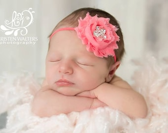 Coral Baby Headband, Coral Headbands, Coral Flower Headbands, Newborn Headbands, Baby Headband, Coral Photo Props