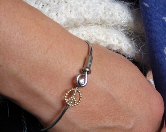 Bicycle Spoke Peace Symbol/Bike Spoke Bracelet/Bike Spoke Peace Bangle /
