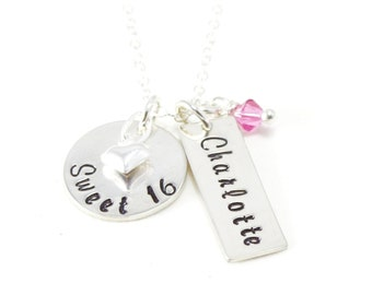 Sweet 16 - Personalized Jewelry - Hand Stamped Jewelry - Sterling Silver Necklace - Round Flat disc with Heart