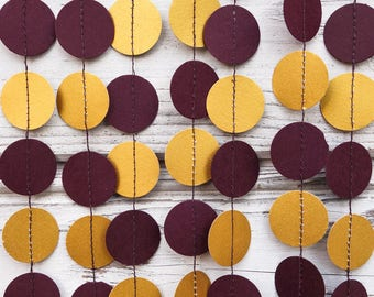 Burgundy and Gold paper garland, Gold baby shower, Burgundy wedding garland, Gold party decor, Marsala garland, Plum garland, Marsala shower
