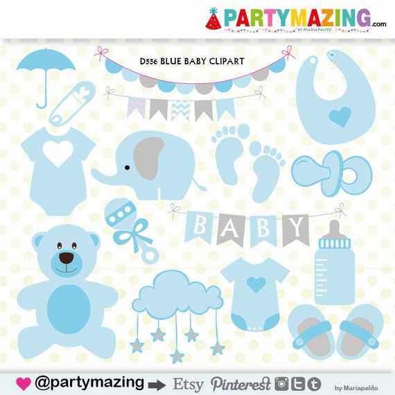 Baby Shower Clipart, Baby Boy Clipart, Baby Clip Art, Umbrella, Blue  Onesie, Clip Art Graphic Set, Instant Download  D556 From Partymazing On  Etsy Studio