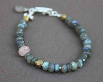 Labradorite Pink Tourmaline Faceted Brass Bead Handcrafted Bracelet Thai Hill Tribe Silver Clasp