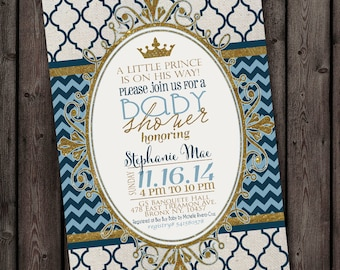 Royal prince baby boy shower invitation blue and gold fast ship customized boy baby shower invitation customized wording printable digital invitation filmwisefo