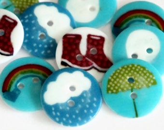 10 Rainy Day Buttons - 20mm Resin Button - Wellington Boots - Cloud Buttons - Rainbow Buttons - Umbrella Buttons - Weather Buttons - RM69