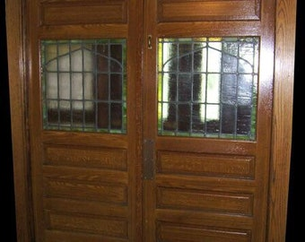 Vintage Stained Glass Double Doors