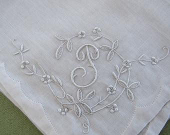 "Monogrammed ""P"" Hankie - Embroidered Vintage 1940s Handkerchief WHITE Linen - White Monogram P Wedding Hankie Bridal Mother of the Bride"