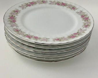 Set of Six (6) Vintage Dansico Matching China Plates - Perfect for showers, weddings, tea parties, or just for your own china cabinet!