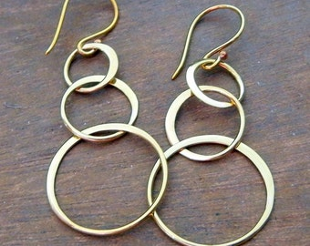 Circle Earrings | Bronze Loop Earrings | Solid Gold Bronze Earrings Everyday Jewelry Earrings