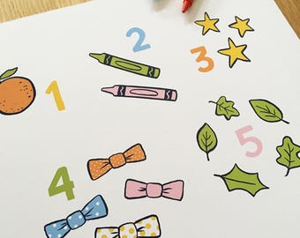 Childrens Decor, Nursery Decor, Pre-school, Counting poster, Numbers, educational art print, children's and kids wall art, Count to 10