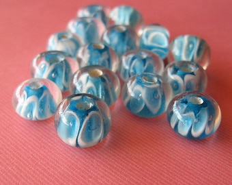 Vintage Blue and White Mod Round Lampwork Beads, Blue lampwork beads, vintage lampwork, lampwork oval beads, rotund