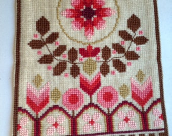 1970's Retro Embroidered Swedish Wall Hanging / Tapestry / Flowers / Vintage