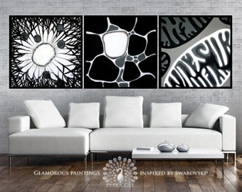 Wall decor with Swarovski® crystals. Large wall decor art. Wall decoration. Guest room decor. Guest room art triptych. Painting triptych art