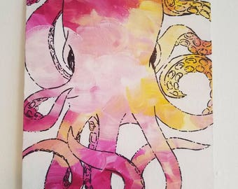 Pink and yellow Ombre Octopus 8x10
