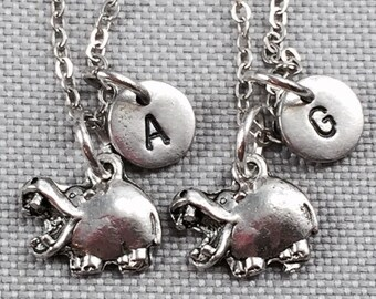 Best friend necklace, hippopotamus necklace, hippo necklace, animal necklace, friendship necklace, bff necklace, friend necklace