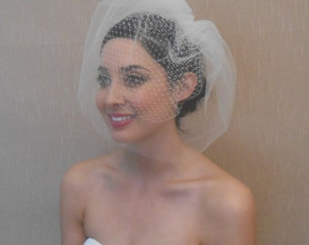 Double layer Russian and Tulle Bridal Birdcage Veil in Light Ivory, white, black - Ready to ship in 3-5 Business Days