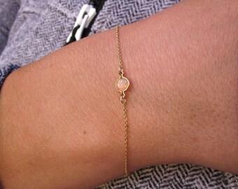 Opal Bracelet, Fire Opal Bracelet, Opal Jewelry, Elegant Bracelet, Delicate Bracelet, Stacking Bracelet, Gemstone Bracelet, Dainty Bracelet