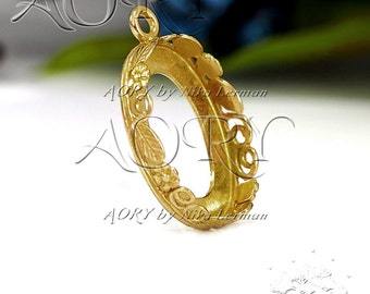 1pcs Brass Flowers and Leaves Bezel Pendant for 18x13mm Cabochon, 1201BR, Gallery Bezel 18x13mm, Shiny Brass Color, Made in Israel