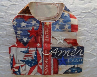 4th of July Patriotic Home of the Brave Dog Harness Vest Small