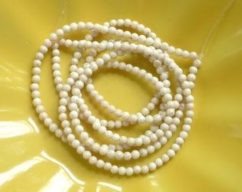 3mm River stone, creamy white  round beads , full strand