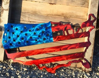 Steel American Flag with translucent paint