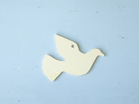 Gift Tags Wooden Dove Unfinished For Craft Projects Lot Of 5