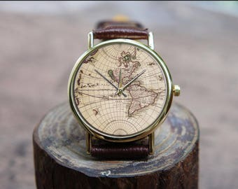 World map watch etsy vintage ancient world navigation map unisex ladies men leather custom watch engravable emoji band celebration wedding gumiabroncs Image collections