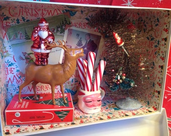 SALE! Vintage Christmas in a Box Diorama - Standing Tall