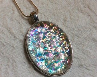 Oval Uncapped Dichroic Fused Glass Necklace