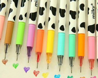 Sales 12pcs of PACK Assorted color Milky dairy cow print pattern point Gel pens  L14