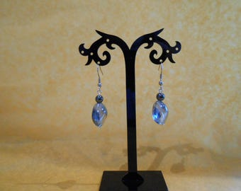 Blue glass and hematite earrings