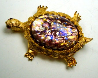 Turtle Brooch, Lavender & Gold Pin, Sparkling Czech Glass  Opalescent Cabochon Shell, Signed IIWSOSLINC, C. 1960s