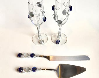 Beaded Cake Server & Knife Set w/ Champagne Flutes, Wire Wrapped Utensil, Pie Server, Anniversary, Bridal Shower Gift, Wedding Flutes,