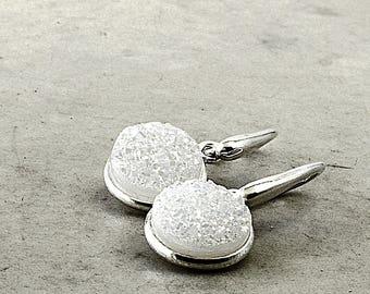 Drusy earrings, Sterling Silver, white gemstones, raw gemstone, Snow Drops