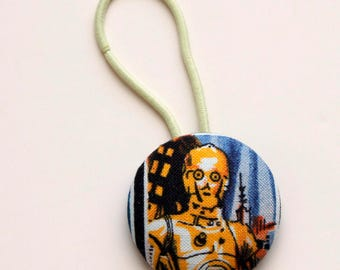 C3PO Fabric Covered Giant Button Ponytail Holder