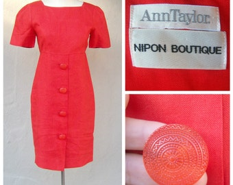 80s linen office dress / TANGERINE / Ann Taylor, Albert Nipon / short sleeve sheath dress, BUTTONS, empire waist / 36-31-34 small 4 6