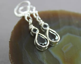 Sterling silver black onyx drop dangle earrings - Short cute earrings, Onyx earrings, Sterling silver earrings, Drop earrings, ER-3S