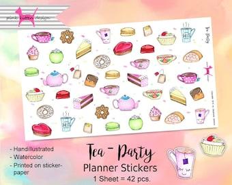 Tea - Party Sticker Handillustrated Watercolor Planner Filofax