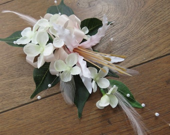 Pale Pink Nerine and Cream Blossom Corsage, Wedding, Prom, Anniversary.