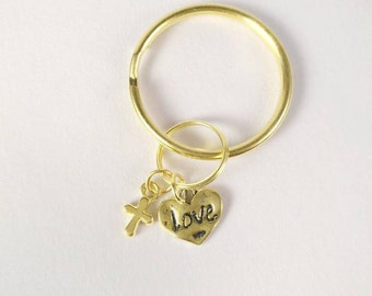 """Gold Cross and """"Love"""" in heart keychain / God is love"""