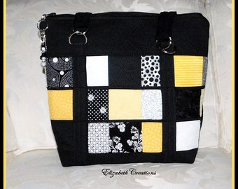Handbag, Spring Yellow/Black/White, Zipper Closure, Pockets