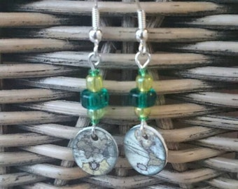 Pretty green and yellow earth drop earrings