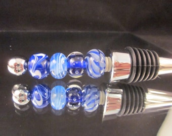 Blue Beaded Bottle Stopper, Wine Stopper, Artisan Lampwork Glass, Hand Crafted, Metal, Heavy, Unique, Beadable, Decorative, OOAK, SRAJD