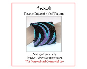 Peyote Bracelet Pattern ... SWOOSH ... Wide . Abstract . Colorful . Flames . Fire . Bold . Modern . Jewelry Pattern . Wide Cuff . 3 for 2