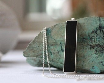 African Ebony Wood Necklace - Silver