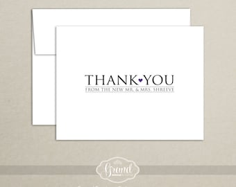 Personalized Wedding Thank You Cards (Set of 10) - New Mr and Mrs - Wedding Note Card Set