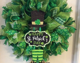 Saint Patrick's Day Wreath, St. Patrick's Day Wreath, St. Patricks Day Mesh Wreath, Saint Patrick's Day Mesh,  Irish Wreath